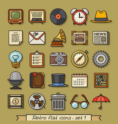 Retro flat line icons - set 1 vector