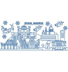 Spain madrid winter city skyline merry christmas vector