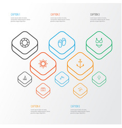 Sun outline icons set collection of ship vector