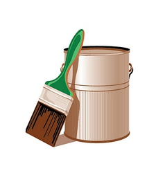 tin with paint and paint brush vector image vector image