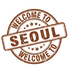 Welcome to seoul brown round vintage stamp vector