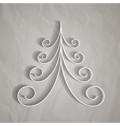 White paper christmas tree vector image vector image