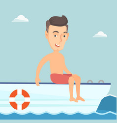 Young happy man tanning on a sailboat vector