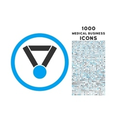 Champion award rounded icon with 1000 bonus icons vector
