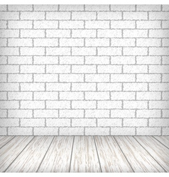 White brick wall with wooden floor vector