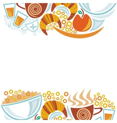 Breakfast and coffee cups pattern vector image