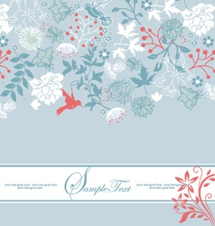 Vintage blue floral invitation card vector