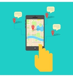 Gps service on mobile phone vector