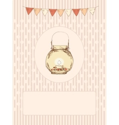 Glass jar with a candle and flags vector