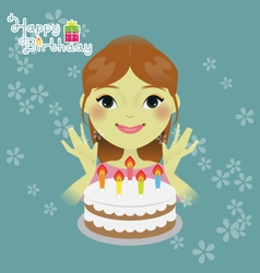 Sweet girl with birthday cake vector