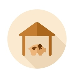 Pigsty flat icon with long shadow vector