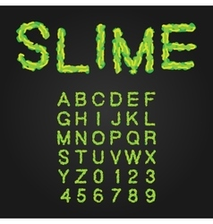 Halloween style typeface green slime uppercase vector