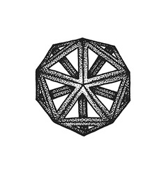 hand drawn dotted style polyhedron vector image