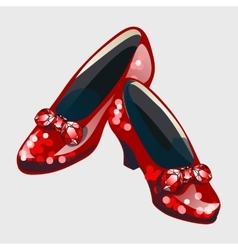 Red shoes with bow made from rubies vector