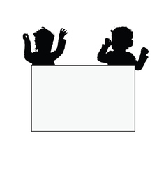 Children with card silhouette vector