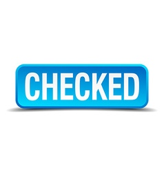 Checked blue 3d realistic square isolated button vector