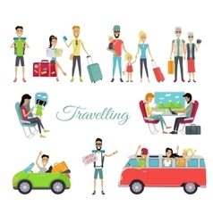 Travelling autostop set of character people vector