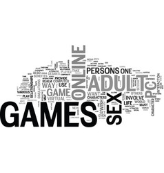 Adult pc games text word cloud concept vector