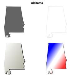 Alabama outline map set vector image vector image
