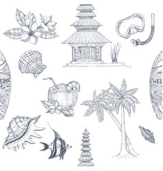 Bali hand drawn pattern vector