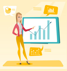 Businesswoman presenting review of financial data vector