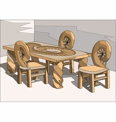 chairs and table vector image vector image