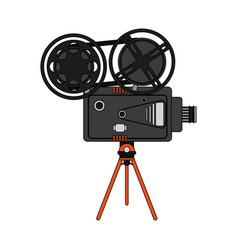 Color image cartoon retro movie film projector vector
