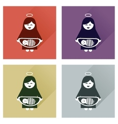 Concept flat icons with long shadow virgin mary vector