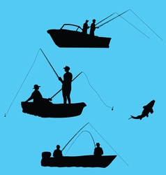 Fishermen from boat vector