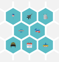 Flat icons decoration identity aircraft and vector
