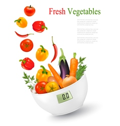 Fresh vegetables with in a weight scale Diet vector image vector image