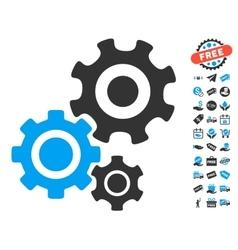 Gear mechanism icon with free bonus vector