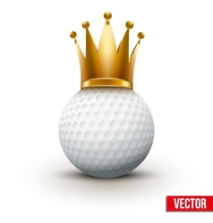 Golf ball with royal crown of queen vector image