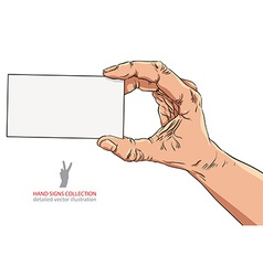 Hand showing business card detailed vector image