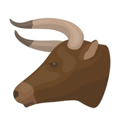 Head of bull icon in cartoon style isolated on vector