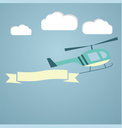 Helicopter with flying advertising banners vector