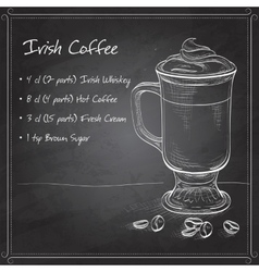 Irish cream coffee on black board vector image