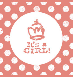 its a girl lettering baby shower party design vector image vector image