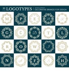 Monogram luxury frame set collection floral label vector