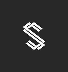 Monogram s logo letter mockup design element vector