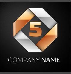 number five logo symbol in the colorful rhombus on vector image