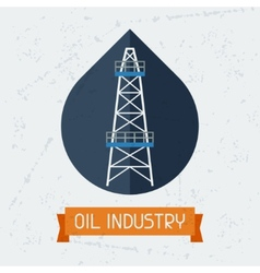 Oil derrick in oilfield background vector