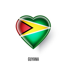 Patriotic heart symbol with guyana flag vector