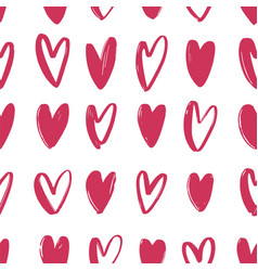 seamless pattern with pink hand drawn hearts on vector image vector image