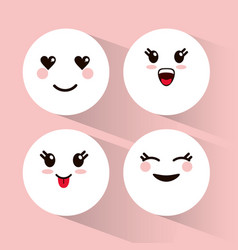 set kawaii emoticons expression vector image