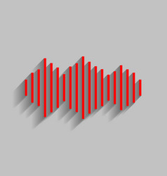 Sound waves icon red icon with soft vector