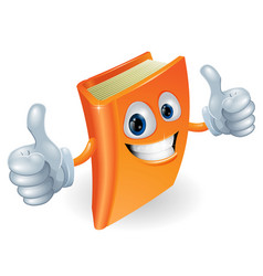 thumbs up book cartoon character vector image vector image