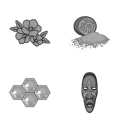 Travel beekeeping and other monochrome icon in vector