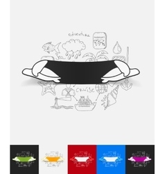 turtle paper sticker with hand drawn elements vector image