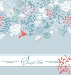 Vintage blue floral invitation card vector